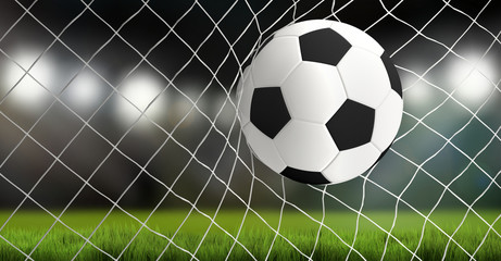 soccer ball in net 3d rendering goal
