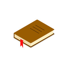 Book icon isometric, Vector flat brown symbol isolated on white backround