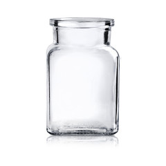 MoсkUp transparent empty glass jar on white background.