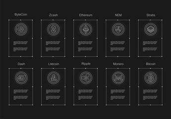 Cryptocurrency logo set - bitcoin, litecoin, ethereum, ethereum classic, monero, ripple, zcash dash stratis nem.