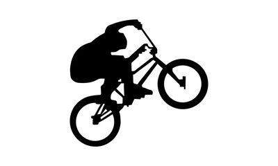 drawing silhouette of a man riding a  bike in style.