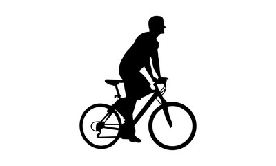 the silhouette of a man riding a mountain bike in the park
