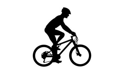 vector boy riding a mountain bike