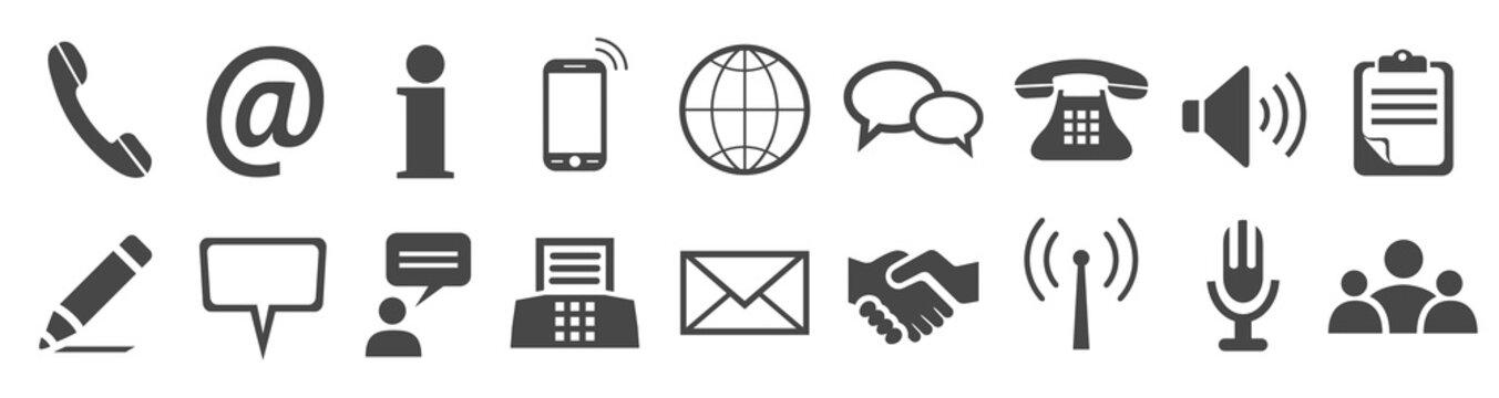Set grey contact icons - stock vector