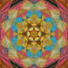Sacred geometry art. Bright tradition mandala. Good for print on canvas or textile and as graphic design pattern.