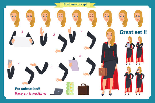 Set of super Businesswoman character design with different poses. Illustration isolated vector on white in flat cartoon style.Blonde Women in office clothes. Business