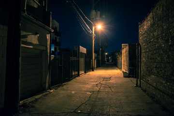 Canvas Prints Narrow alley Dark and eerie urban city alley at night