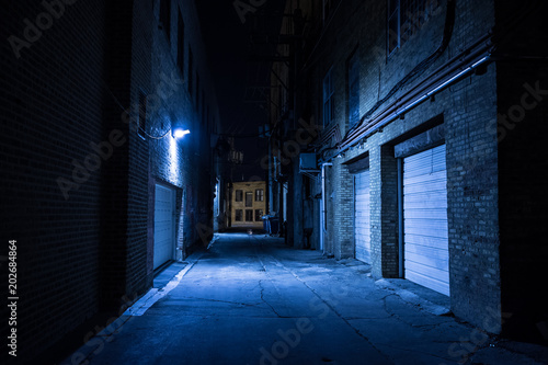 Wall mural Dark and eerie urban city alley at night