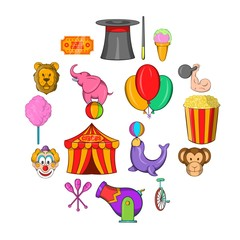 Circus Icons set in cartoon style isolated on white background