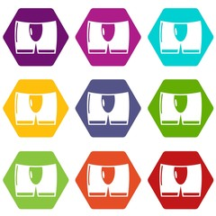 Men brief icons 9 set coloful isolated on white for web