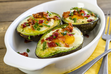 Baked avocados and eggs with bacon and chives