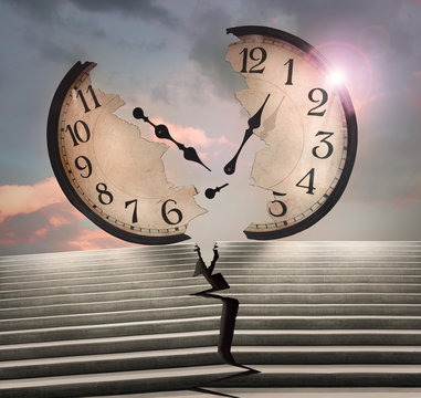 Beautiful conceptual surreal image representing a large clock and a cracked stairway in two