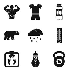 Winter playful icons set. Simple set of 9 winter playful vector icons for web isolated on white background