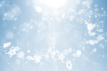 Blue design with white snowflakes