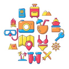 Travel summer icons set. Cartoon illustration of 16 building vehicles vector icons for web
