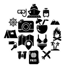 Travel summer icons set. Simple illustration of 16 building vehicles vector icons for web