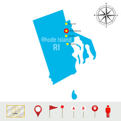 Rhode Island Vector Map Isolated on White. High Detailed Silhouette of Rhode Island State. Official Flag of Rhode Island