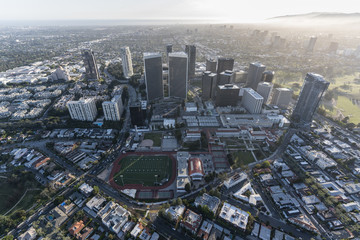 Afternoon aerial view of Century City buildings and streets in Los Angeles, California.