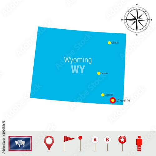 Free Wyoming State Map.Wyoming Vector Map Isolated On White Background High Detailed