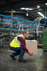 Factory worker carrying cardboard box in drinks production factory