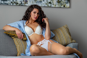 Gorgeous Brunette Model Relaxing At Home