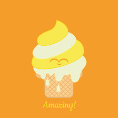 Amazing! Ice cream. Vector illustration