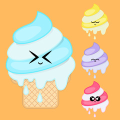 Ice cream collection. Ice cream emoji.