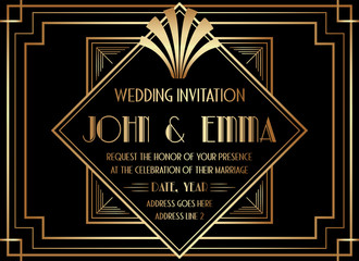 Geometric Gatsby Art Deco Style Wedding Invitation Design