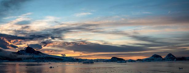 Panoramic view of sunset in Antarctica