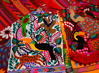 Typical indigenous Tzotzil Maya textiles created at Zinacantan near San Cristobal de la Casas Mexico