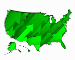 United States of America USA Arrows Map Growth Increase On Rise 3d Illustration