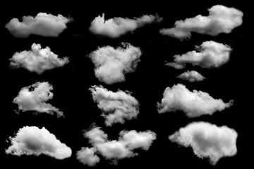 many cloud isolated on black background