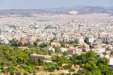 View from the Beule Gate to the Acropolis with the Temple of Hephaestus in the foreground - Athens, Greece