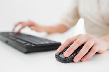 Midsection of a businesswoman using keyboard and mouse