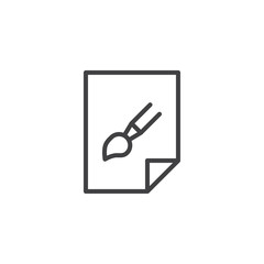 Graphic image file outline icon. linear style sign for mobile concept and web design. Paper with paint brush simple line vector icon. Symbol, logo illustration. Pixel perfect vector graphics