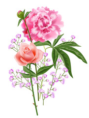 Realistic rose and peony flower composition. Holiday design element. For greeting cards, posters, leaflets and brochures.