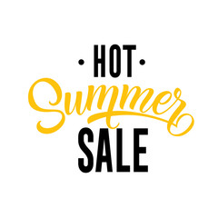 Hot summer sale, seasonal sign template. Handwritten and typed text can be used for flyers, leaflets, banners, posters.