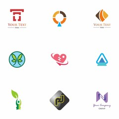 logo set design for element, geometric, website, and identity