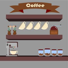 shelves of coffee bean and coffee maker tool ,illustration 