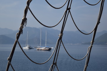 Rope ladder of a sailing ship.Marmaris.Turkey