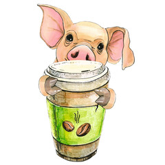 pig holds a glass of coffee in its hooves. to drink coffee. Isolated over white background