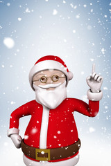 Composite image of cartoon santa with snow falling