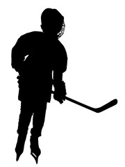 Vector hockey player silhouette with stick and a washer. Shoots the puck and attacks vector. Skating on ice.