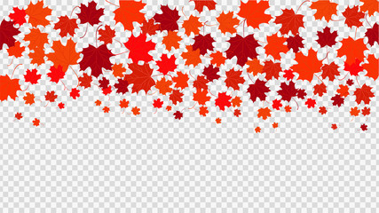 Horizontal background with red leaves