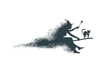 Illustration of flying young witch icon composed of particles. Witch and cat silhouettes on a broomstick. Magic wand in hand. Halloween relative image.