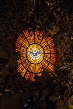 The stained-glass window of the indulgence of the holy spirit