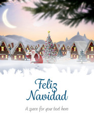 Photo sur Plexiglas Bleu clair Santa delivery presents to village against feliz navidad