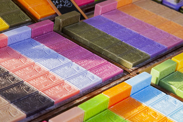 Foto op Canvas Nice NICE, FRANCE, on March 7, 2018. The traditional soap produced in Provence from local natural ingredients lies on counters of the well-known Cours Saleya market
