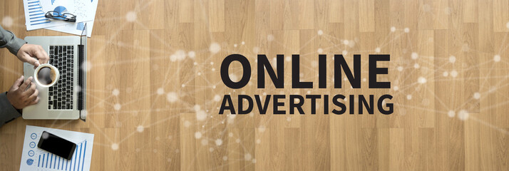 ONLINE ADVERTISING Business team work with financial reports banner with copy space