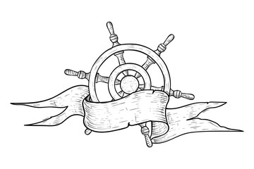 Steering wheel with ribbon banner. Hand drawn sketch